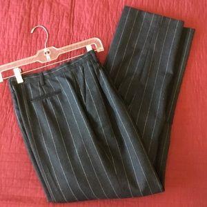 Vintage 90s ladies trousers. Pinstripe charcoal.